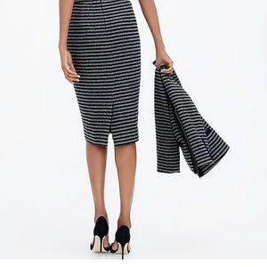 J. Crew Striped Pencil Skirt Wool Blend Sz 00
